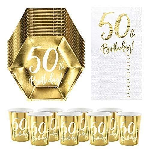 50th Birthday Party Pack For 6 People, 50th Birthday Decorations, 50th Party Plates, 50th Paper Napkins, 50th Paper Party Cups, Milestone.